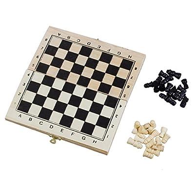 SODIAL(R) Echiquier Pliant en bois jeu d'echecs Voyage avec serrure et charnieres--Ivoire et noir des pieces d'echecs