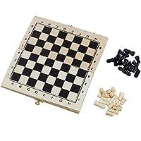 SODIAL(R)Faltbares Holz Schach Brett Schach-Stuecke Set mit Schloss und Scharnieren - Elfenbein und Schwarz