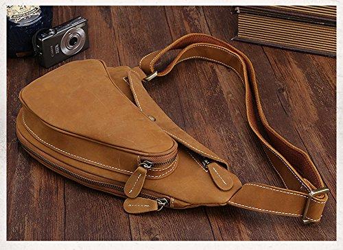 Modelshow Mode Echtleder Brust tasche Retro Bote Tasche Hohe Kapazität Schulter Tasche (dunkelbraun) braun