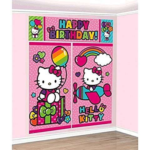 Hello Kitty Rainbow Scene Setters Wall Decorating Kit Birthday Party Decoration , Multi Color, 14.6 x 10.4. by TradeMart Inc. - Hello Kitty Birthday Giochi