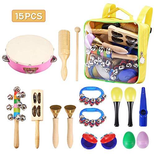 Musikinstrumente Kinder Set,NASUM,15 Stück Holz Kinder Percussion Set Schlagzeug Spielzeuge Rhythmus Band Set für Kindergarten schönes Design