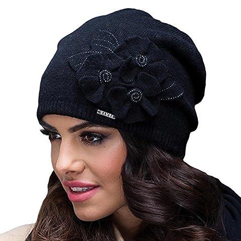 Kamea Daria Bonnet Feminin Top Qualité Unicolore Laine- Fabriqué En UE, noir,UNI
