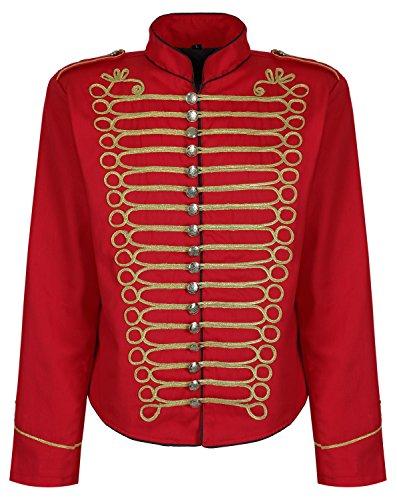 Herren Steampunk Napoleon Offizier Parade Jacke - Rot & Gold (Herren M)