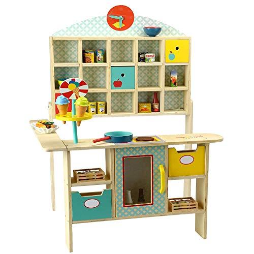 TikTakToo Kaufladen aus Holz~Kaufmannsladen Verkaufsstand Eisdiele Marktstand Kiosk Kinder Fresh and Yummy