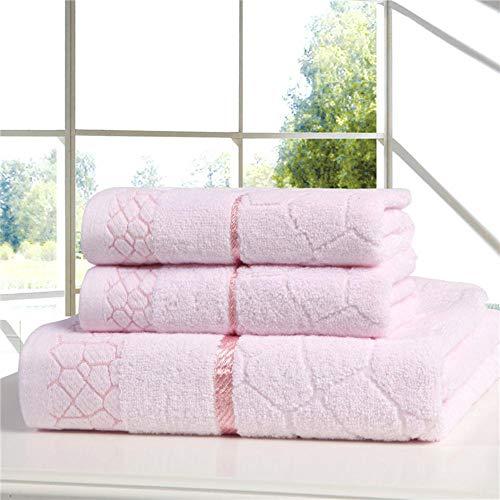 HUILIN Mode Baumwolle handtücher Anzug 2 stücke Handtuch 1 stücke Badetuch Set Gute qualität weich und komfortabel 34 * 75 cm 70 * 140 cm rosa Himmel, rosa, Siehe unten für größenbeschreibungen - Monogrammiert Handtuch-set