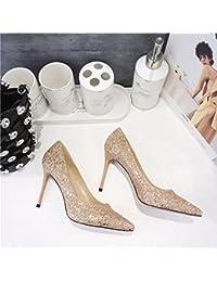 35a4b8fd Olici MDRW-Lady/Elegante/Trabajo/Ocio/Muelle Zapatos De Moda 9 All-Match  Dorada 5Cm Lentejuelas High-Heeled Zapatos con…