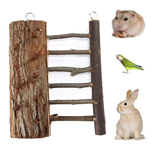 LEUM SHOP Kleine Haustier Vogel Hamster Papagei Eichhörnchen Brücke Klettern Leiter Treppe Spielzeug Käfig Dekor Wood Color - Spielzeug Hamster Klettern