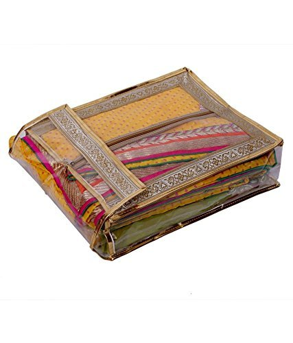 PrettyKrafts Traditional Saree/Suit Cover with Center Zipper - Golden