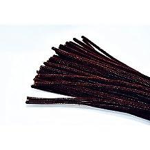 Kentop 100pcs Limpiapipas Chenilla Alambre Flexible de Peluche 30cm para DIY Artesanía Decoración, Fibra, marrón Oscuro, 30cm x 6mm