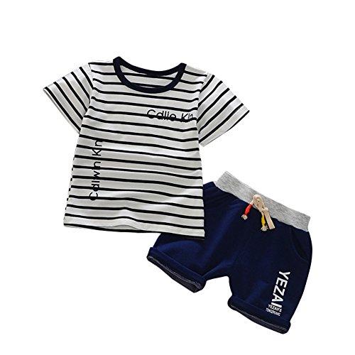 it Kurzarm gestreiftes T-Shirt und kurze Hose Kleidung Set für 6 Monate -4 Jahre alt (Der Junge Im Gestreiften Pyjama Kostüm)
