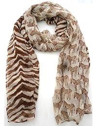 Ladies Large Printed High Fashion Scarf - S132 Zebra Print Brown