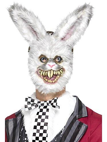 Smiffys, Unisex Weißer Hase Maske mit Fell, One Size, Grau, (Halloween Rabbit Kostüme White)