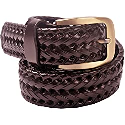 VOGARD Men's Genuine Leather Braided Belt Brown