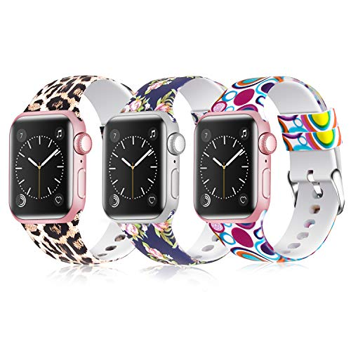 JLELE para Apple Watch 38mm 42mm 40mm 44mm Correa, Soft Silicona Estilo Deportivo Reemplazo Wristband Pulseras para iWatch Series 4 3 2 1 (38mm/40mm, Z-3 Pack A)
