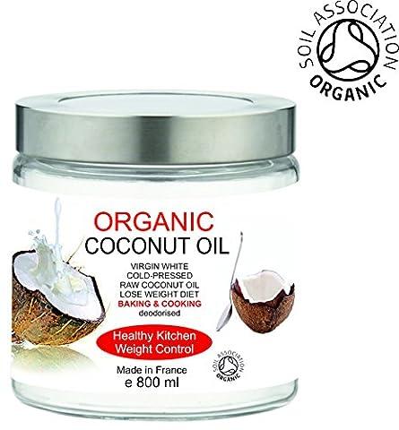 BIO Huile de Noix de Coco Organique 800 ml 100% Pure, sans odeur - Première pression à froid - Cuisine et Soins de la Peau et