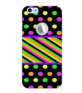 PrintVisa Polka Dots & Stripes Pattern 3D Hard Polycarbonate Designer Back Case Cover for Apple iPhone 6 Logo