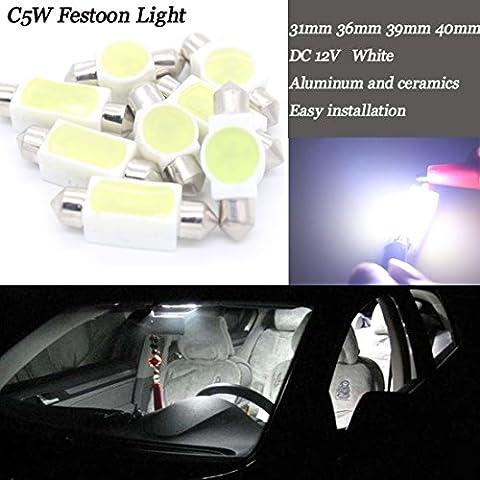 DC12V Céramique LED Intérieur de voiture carte de lumière sauvegarde de porte dôme côté marqueur Festoon lampe (10pièces)
