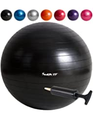 MOVIT® - Ballon de gymnastique et de fitness ou ballon d'exercice avec pompe - anti-éclatement - capacité jusqu'à 300 kg 65cm et 75cm 7 couleurs différentes