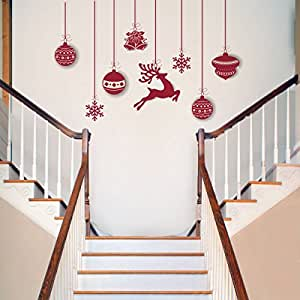 Rawpockets 'Christmas Hanging Decorative' Wall Sticker (PVC Vinyl, 0.99 cm x 124.99 cm x 80 cm)