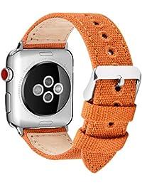 Fullmosa Compatible Apple Watch Banda 38mm 40mm 42mm 44mm,8 Colores Lona NATO Estilo Compatible para Apple Watch Series 4(40mm),Series 3,Series 2,Series 1(38mm),38mm 40mm,Calabaza Naranja