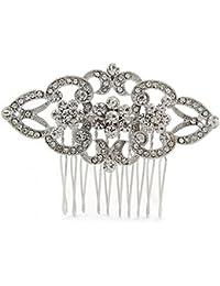 Novia/Boda/novia/fiesta chapado en claro cristal austríaco Floral Side Peine–65mm