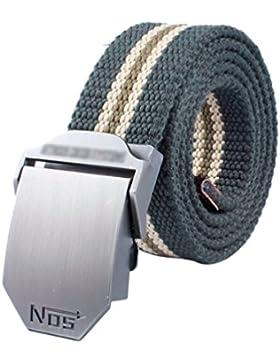 Lihaer Cinturón De Lona Durable Clásico De Los Hombres Casual Deportes Cinturón Al Aire Libre Con Hebilla De Automática