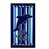 Strandtücher Groß Delphin Blau Bedruckt 100 x 180 cm Microfaser Badetuch für Erwachsene Damen Kinder Mädchen Ideal für Schwimmen Spa Reisen Yoga Sport Camping Sunbed Cover Bad oder Dusche zu Hause