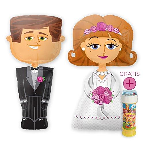Preisvergleich Produktbild Das Hochzeits-Set: Airwalker Brautpaar Braut & Bräutigam, je 127cm groß & Magic Color Bubbles 60ml