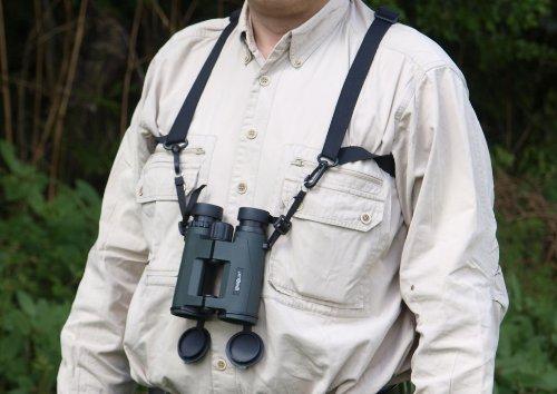 LENSOLUX Fernglas-/Kamera-/Optik-Trageriemen aus elastischem Material - wird getragen wie ein Holster - das zu tragende Gerät wird nur einfach eingehakt. Dieser Trageriemen entlastet den Nacken und verringert das gefühlte Gewicht des Gerätes spürbar