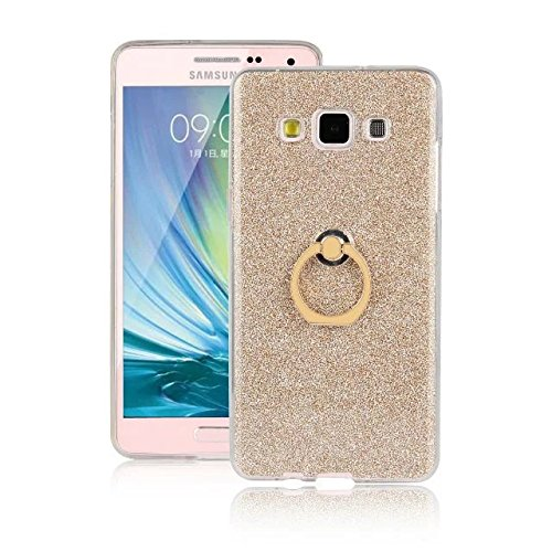 Luxus Bling Sparkle Style Case, Soft TPU [Silikon] Flexible Glitter Rückentasche mit Fingerring Stand [Anti Scratch] [Shockproof] für Samsung Galaxy A7 ( Color : Gold ) Gold