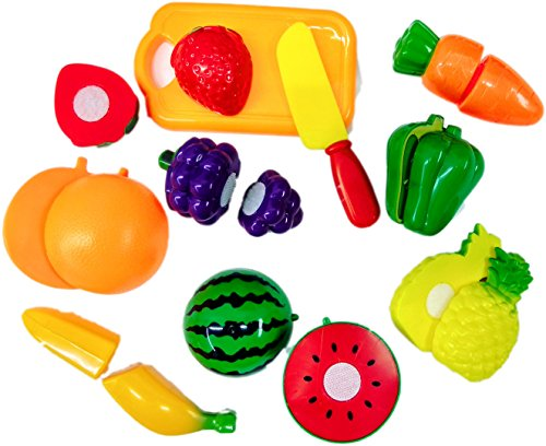 Blossom Sliceable Fruits and Vegetables Kitchen Set Toy with various Fruits,Vegetables,Kinfe and Cutting Board,10 pcs