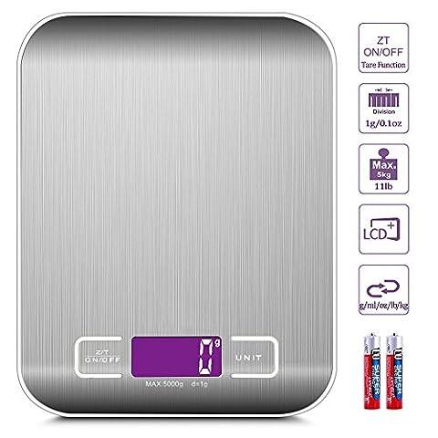 Balance de Cuisine Electronique avec Fonction Tare/Zéro 5kg/11lb Acier Inoxydable Balance Electronique de Precision Pour la Maison et la Cuisine, Piles
