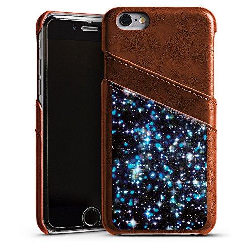 Apple iPhone 4 Housse Étui Silicone Coque Protection Étoiles Paillettes Motif Étui en cuir marron