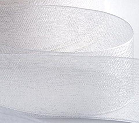 Organzaband. Hohe Qualität viele Farben und Größen 10mm, 12mm, 20mm, 25mm. Scrapbooking, Geschenk Verpackung, Home Deco. 46meter/50Meter Rollen–London der GCS–Kaufen 3& 4. gratis, weiß, 20 mm