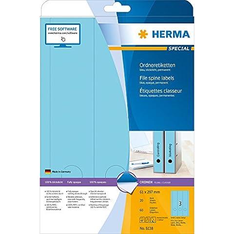 Herma 5138 Ordnerrücken Etiketten breit/lang, blickdicht (61 x 297 mm auf DIN A4 Papier matt) 60 Stück auf 20 Blatt, blau, selbstklebend