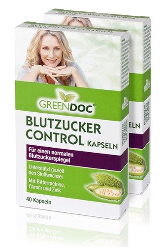 GreenDoc Blutzucker Control Kapseln (2er Pack) - für einen normalen Blutzuckerspiegel (2x40 Kapseln)