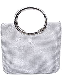 SYMALL Bolso de Mano con Diamantes Cristales Brillantes Cartera de Mano con Asas Estilo Elegante con