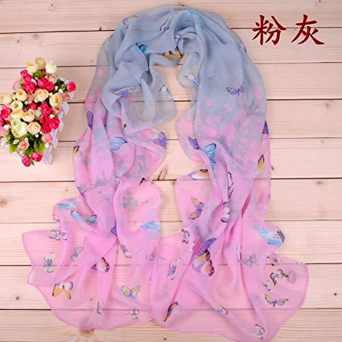 JJHR Sciarpa di Seta Sciarpe Chiffon Autunnale E Invernale da Donna Sandali Sciarpa con Stampa A Sette Colori Sciarpe