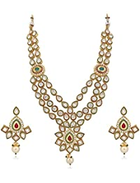 Vk Jewels Wedding Collection Gold Brass Alloy Necklace Set For Women Vknks1278G