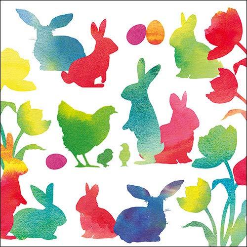 Ambiente Papierservietten - Servietten Cocktail/Fest/Party/ca. 25x25cm Easter Silhouettes Red Ostern Frühjahr Sommer Tisch-Deko