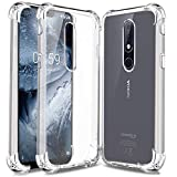 #7: Jkobi Silicon Flexible Protective Shockproof Corner Back Case Cover for Nokia 6.1 Plus -Transparent