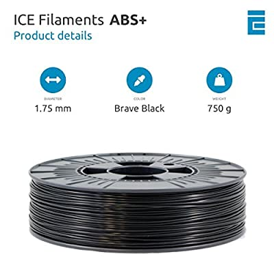 ICE FILAMENTS ICEFIL1ABSPLUS214 ABS+ Filament für 3D-Drucker, 1,75 mm, 0,75 kg, Brave Black