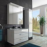 Modernes Badezimmer Möbel Set/mit Waschbecken/Spiegel- und Hochschrank/in weiss/hochglanz lackiert/mit LED Beleuchtung/Softclose System und Steckdose/fertig montiert/MADE IN GERMANY