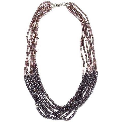 SODIAL (R) Gargantilla de multiples capas de granos plasticos purpura de moda