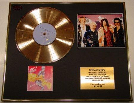 AEROSMITH/Goldene Schallplatte/RECORD & Foto-Darstellung/Limitierte Edition/COA/JUST PUSH PLAY (Aerosmith Sammlerstücke)