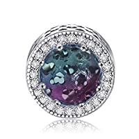 CKK Sterling Silver Gradually Iridescence Crystal Charms for Pandora Charms Bracelets Jewelry Making