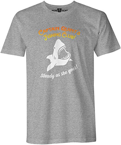 Quints Fishing Club T Shirt - Herren 1970's retro Jaws Inspirierter Film T Shirt Sportsgrau