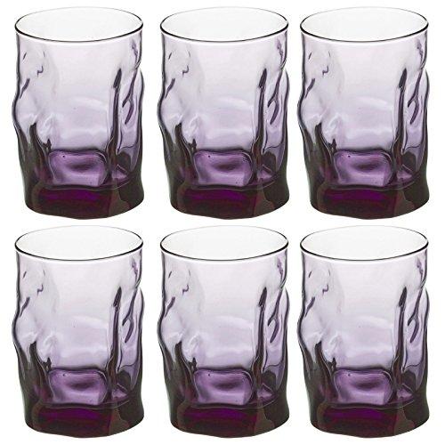 Bormioli Rocco Sorgente Verre 30 cl Bleu océan Noir Violet, violet, Set Of 12