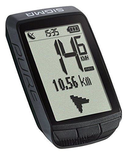 Sigma Sport Fahrrad Computer PURE GPS, Höhenmessung, Kompass-Navigation, Kabelloser Fahrradtacho, Schwarz