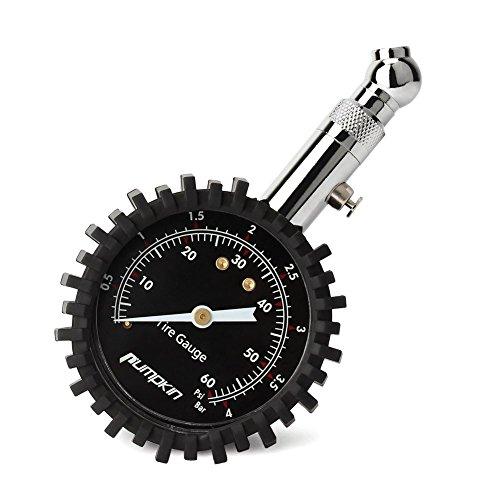 PUMPKIN Tragbarer Reifendruckprüfer Manometer Reifendruckmesser Tester Meter mit Zifferblatt, 360°drehbares Kugelgelenk für Auto Motorrad